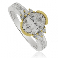 Simulated Diamond Solitaire Ring in Sterling Silver