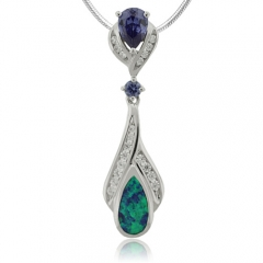 Silver Tanzanite and Opal Pendant.
