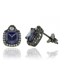 Beautiful Tanzanite Earrings with Zirconia In Black Silver