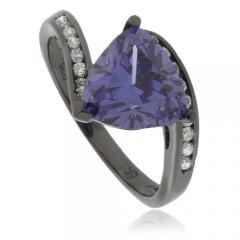 Trillion Cut Tanzanite Black Silver Ring