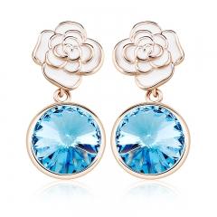 Blue Earrings With Flower