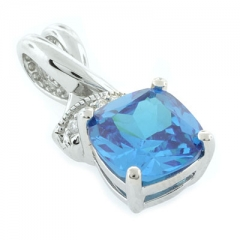 Blue Topaz Silver Pendant Cushion Cut