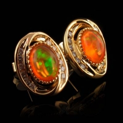 14K Gold Plated Quality Fire Opal Earrings