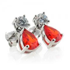Silver Fire Cherry Opal Earrings