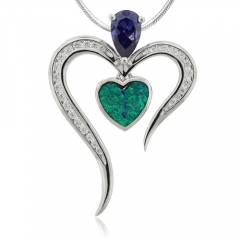 Heart Shape Tanzanite and Opal Silver Pendant