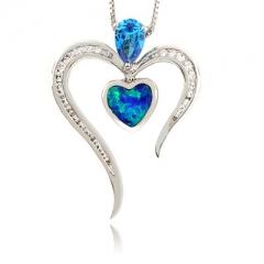 Australian Opal with Blue Topaz Heart Pendant