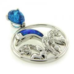 Australian Opal with Blue Topaz Dolphins Pendant