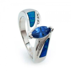 Australian Opal Ring with Marquise Cut Tanzanite