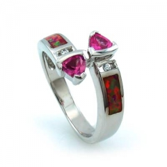 Australian Opal and Silver Ring with Pink Sapphire