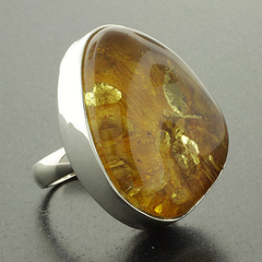 Genuine Amber Silver Ring