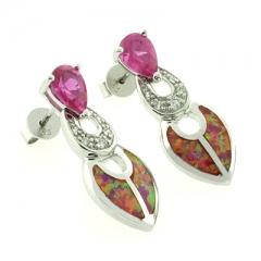 Australian Opal with Pink Sapphire Earrings