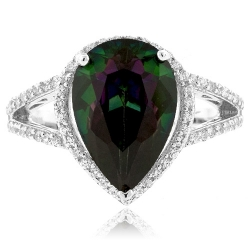 Pear Cut Mystic Topaz Silver Ring