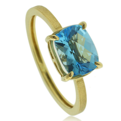 Genuine Blue Topaz Engagement 14k Yellow Gold Ring