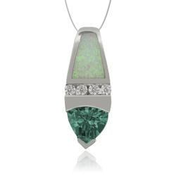 Trillion Cut Alexandrite and  White Opal Silver Pendant