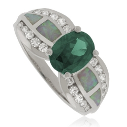 Oval-Cut Alexandrite Sterling Silver Ring With White Opal