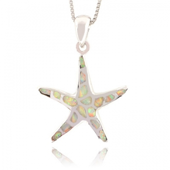 White Australian Opal Sea Star Fish Silver Pendant