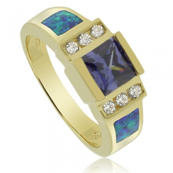 Gold Plated Ring with Precious Tanzanite Gemstone and Australian Opal