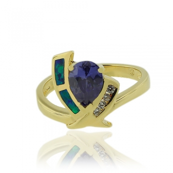 Gold Plated Ring with Pear Cut Tanzanite Gemstone.