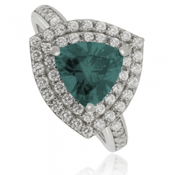Trillion Cut Alexandrite ( Blue/Green ) Silver Ring