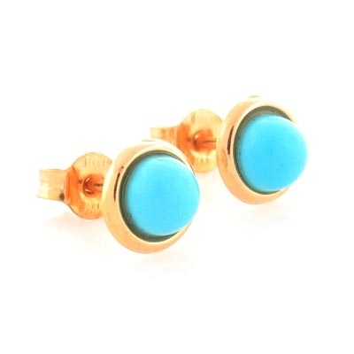 14K Solid Gold Turquoise Earrings