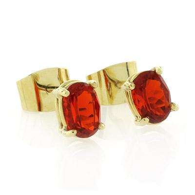 Genuine Fire Cherry Opal 14k Yellow Gold Earrings