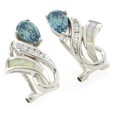 Opal and Alexandrite Silver Earrings