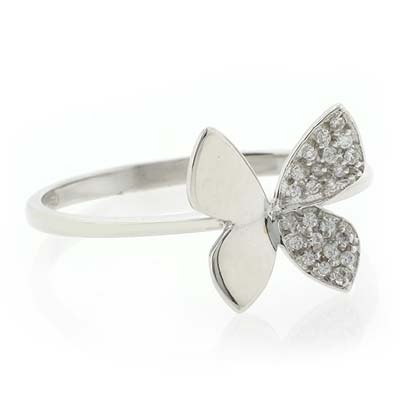 18K White Gold Diamond Butterfly Ring