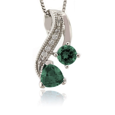 Two Stone Alexandrite Blue to Green Color Change Silver Pendant
