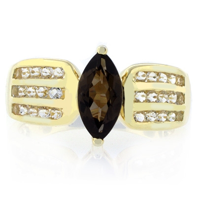 Smoked Topaz Marquise Cut Gemstone Sterling Silver Ring