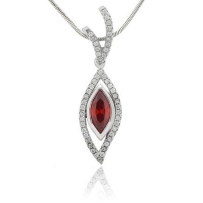 Fire Opal Gemstone Silver Pendant