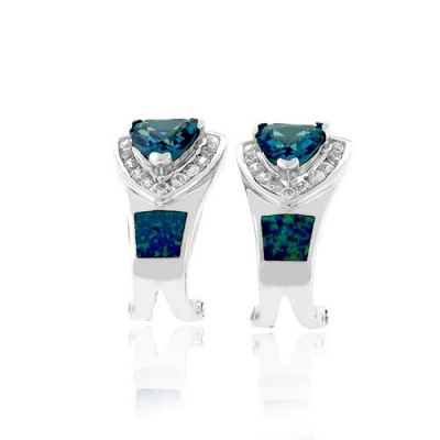 Trillion Cut Alexandrite With Australian Opal Earrings