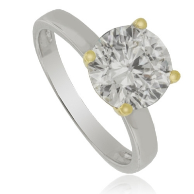 Simulated Diamond Engagement Ring in Sterling Silver