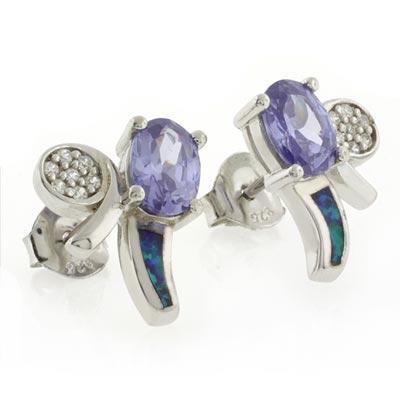 Australian Opal with Tanzanite Silver Earrings