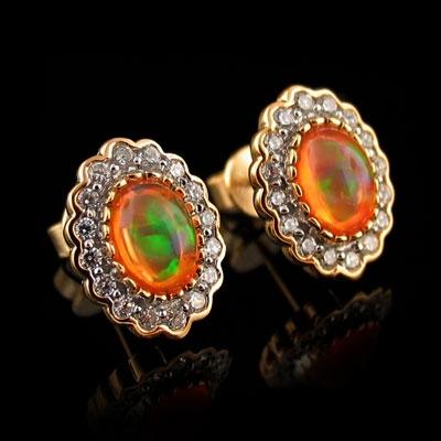 14K Gold Plated Quality Fire Opal Earrings