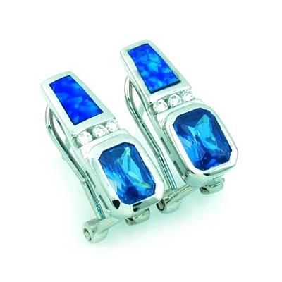 Australian Opal with Blue Topaz Earrings