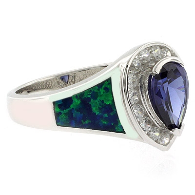 Fashion Opal and Tanzanite Ring