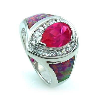 Australian Opal Ring with Pink Pear Cut Sapphire