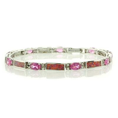 Pink Australian Opal with Pink Sapphire Bracelet