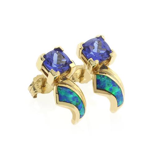 14K Yellow Gold Australian Opal with Tanzanite Earrings