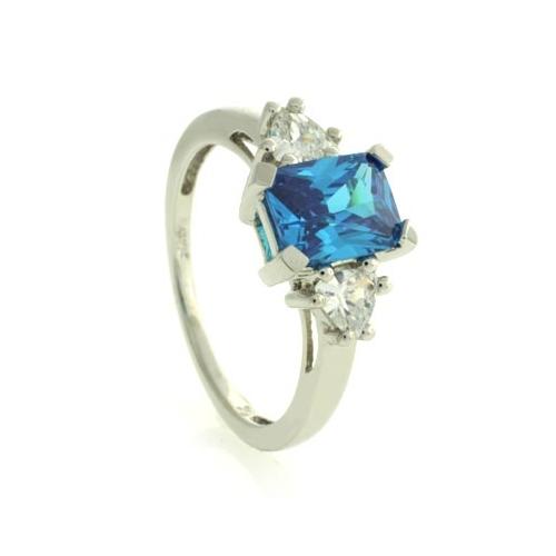 blue topaz silver ring emerald cut