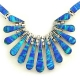 Mexican Blue Fire Opal Silver Necklace, Bracelet and Earrings Set