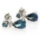 Silver Very Elegant Three Stone Drop Earrings