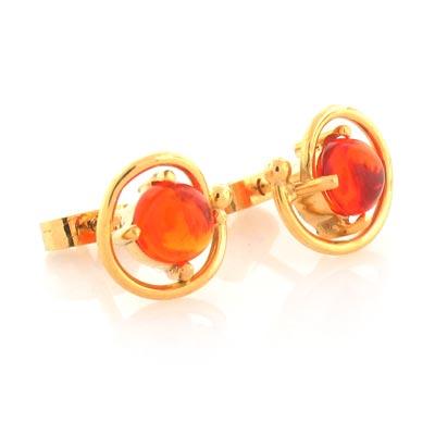 14k Solid Gold Mexican Fire Opal Earrings