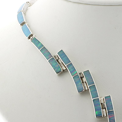 Mexican Blue Fire Opal Silver Necklace