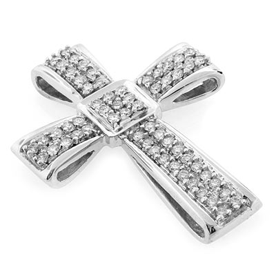18k white gold 104 ctw diamond cross pendant silverbestbuy 18k white gold 104 ctw diamond cross pendant aloadofball Gallery