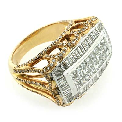 18K Yellow Gold 2 69 ctw Genuine Diamond Big Ring