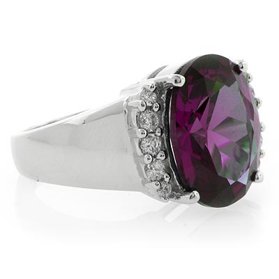 Big Alexandrite Changing Color Stone Ring Blue Purple