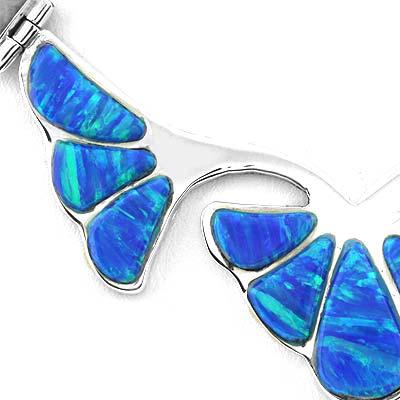 Blue Opal Silver Flower Necklace Bracelet And Earrings Set