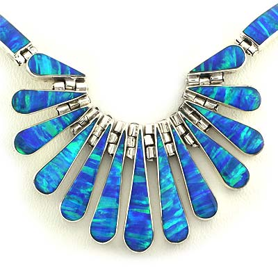 Mexican Blue Fire Opal Silver Necklace Bracelet And