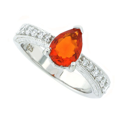 Genuine Mexican Fire Opal Ring In Sterling Silver